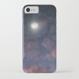 Glowing Moon on the night sky through pink clouds iPhone Case
