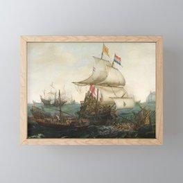 Dutch Ships Ramming Spanish Galleys off the Flemish Coast Framed Mini Art Print