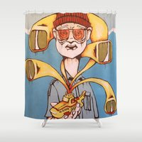 yellow submarine Shower Curtains featuring Bill Murray and The Yellow Submarine by Kent Boggs