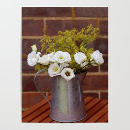 White gentians in rustic pitcher Poster