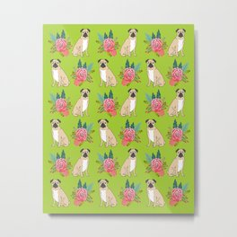 Pug Flowers cute dog art dog breed must have gifts for pug owners pet portraits fur baby animal Metal Print