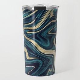 Teal Navy Blue Gold Marble #1 #decor #art #society6 Travel Mug
