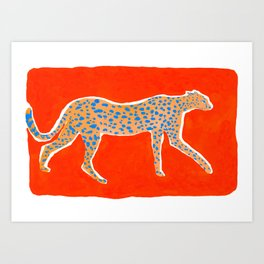 Leopard - Orange Kunstdrucke