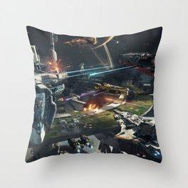 Spaceships battle Throw Pillow