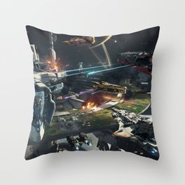 Spaceships battle Throw Pillow