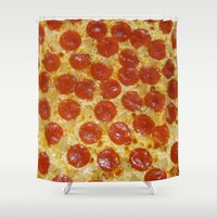 pizza Shower Curtains featuring Pizza by Katieb1013