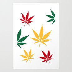 Rasta color leaves on white  Art Print