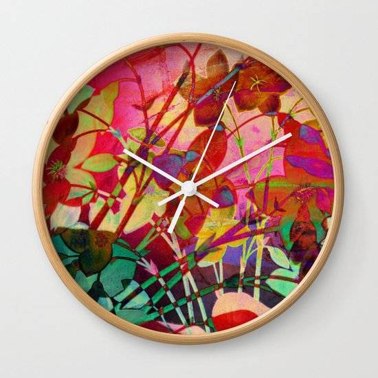 wild floral Wall Clock
