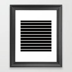 White Stripes on Black Pattern Framed Art Print