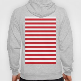 Narrow Horizontal Stripes - White and Fire Engine Red Hoody