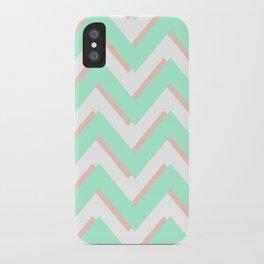 3D CHEVRON MINT/PEACH iPhone Case
