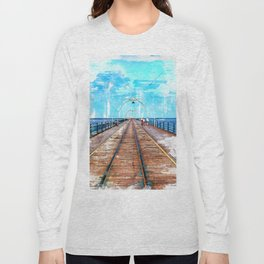 Big Pier By The Ocean - Piers Around The World Long Sleeve T-shirt