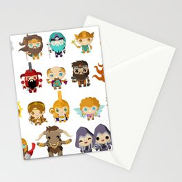 chibi kawaii gods of the greek mythology Stationery Cards