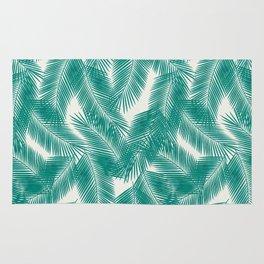 Green Tropical Palm Leaves Rug