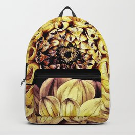 Golden Dahlia Mandala Backpack