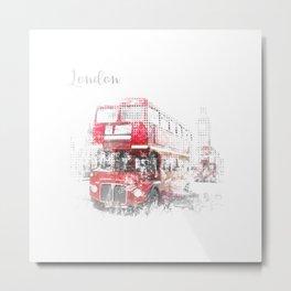 Graphic Art LONDON WESTMINSTER Street Scene Metal Print