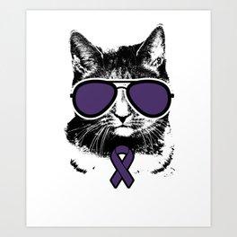 Vintage Purple Ribbon Awareness Cat Art Print