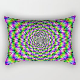 Neon Rosette in Pink Green and Blue Rectangular Pillow
