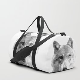 Black and White Wolf Duffle Bag