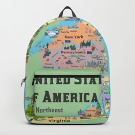 USA Northeast States Colorful Travel Map VA WV MD PA NY MS CT RI VE DE NJ With Highlights And Favori Backpack