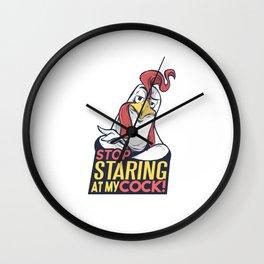 Farmer Staring at Cock Chicken Bird Gift Wall Clock