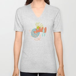 Mid Century Abstract Florals Unisex V-Neck