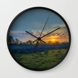 Daybreak In The Land Of Bluebonnets Wall Clock