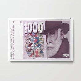 1000 Old Swiss Francs Note- Front Metal Print