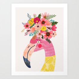 Pink flamingo with flowers on head Art Print