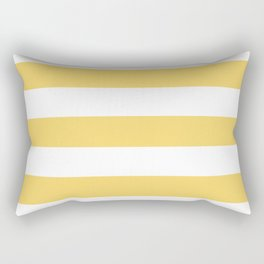 Orange-yellow (Crayola) - solid color - white stripes pattern Rectangular Pillow