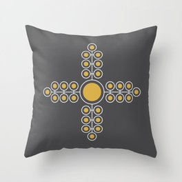 Minimalist Flowers Cross Pattern (Spicy Mustard, Charcoal Black) Throw Pillow