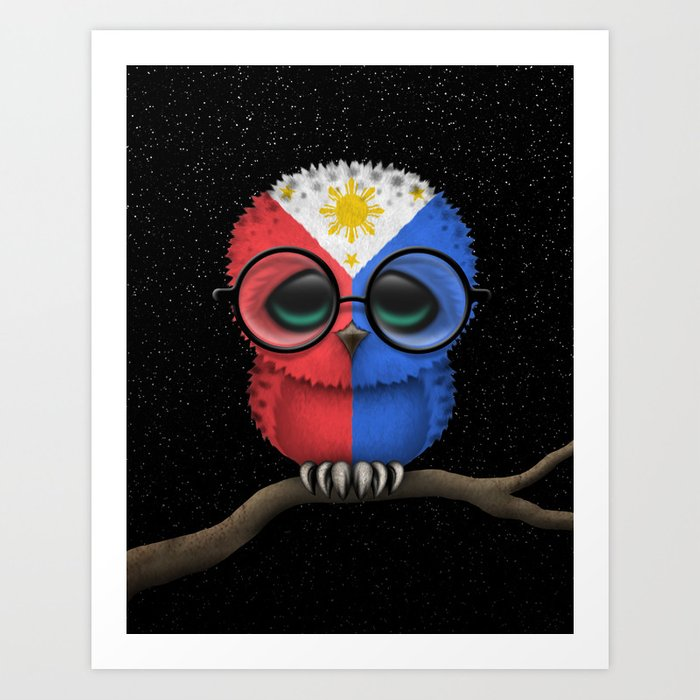 Baby Owl with Glasses and Filipino Flag Art Print
