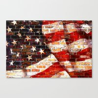 flag Canvas Prints featuring Flag by Urlaub Photography