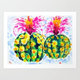 Crazy Hair Day Cactus Art Print