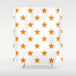 Stars (Orange/White) Shower Curtain