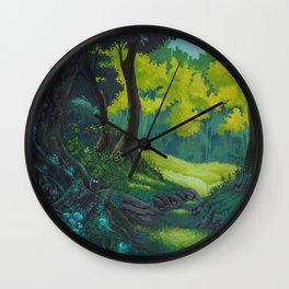 Magic forest glade art bright colors Wall Clock