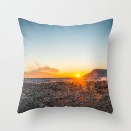 The bay of Montecarlo Monaco at sunset from Cap Martin in a sunny winter day Throw Pillow