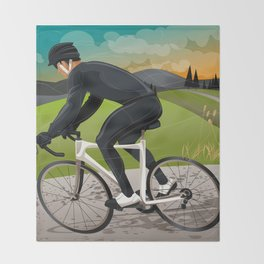Road Cyclist Throw Blanket