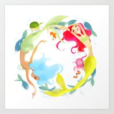 Mermaid Circle Art Print