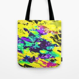 psychedelic splash painting abstract texture in yellow blue green purple Tote Bag