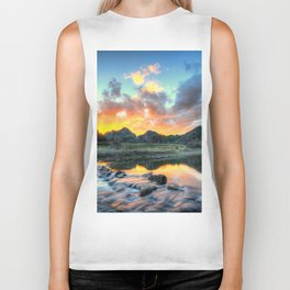 Sunset Landscape #river Biker Tank