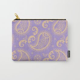 Paisley Pattern with Butterflies Light Purple and Ochre  Carry-All Pouch