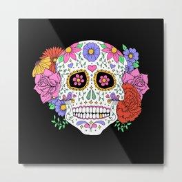 Sugar Skull with Flowers on Black Metal Print