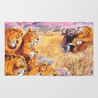 vegetarian Area & Throw Rugs featuring vegetarian lion by Rose Rigden