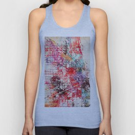 Chicago map painting Unisex Tank Top