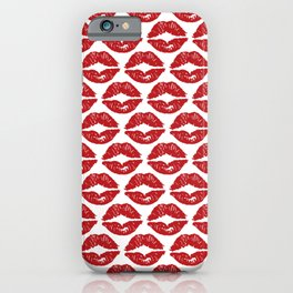 Rock & Roll Red Lipstick Kisses iPhone Case