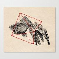 fish Canvas Prints featuring Fish In Geometrics III by Florent Bodart / Speakerine