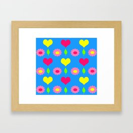 Daisy and heart print, turquoise, pink and yellow Framed Art Print