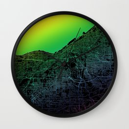 Cleveland, OH, USA, City, Map, Rainbow, Map, Art, Print Wall Clock