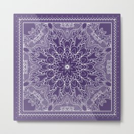 Mandala, Flower, Purple, Boho Wall Art Metal Print